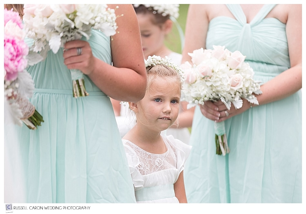 flower girl during wedding ceremony