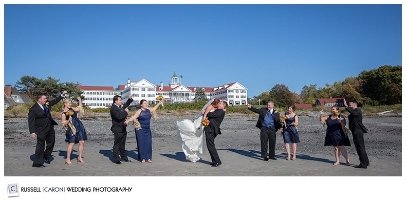 bridal-party-photos-on-colony-beach-kennebunkport-maine