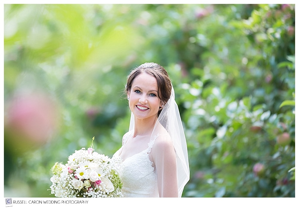 bridal portrait in Parlee Farms apple orchard