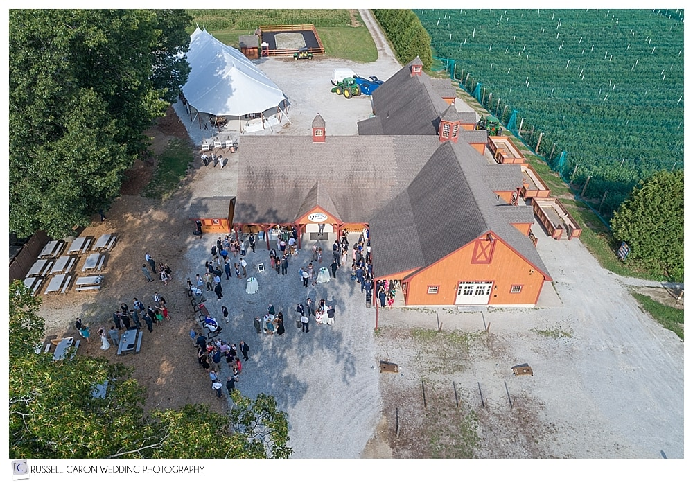 aerial drone photo of cocktail hour at Parlee Farms wedding