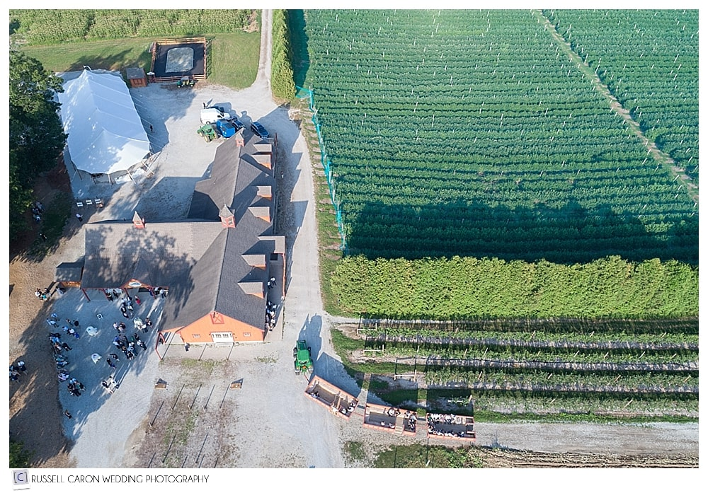 aerial drone photo of hayrides during Parlee Farms wedding