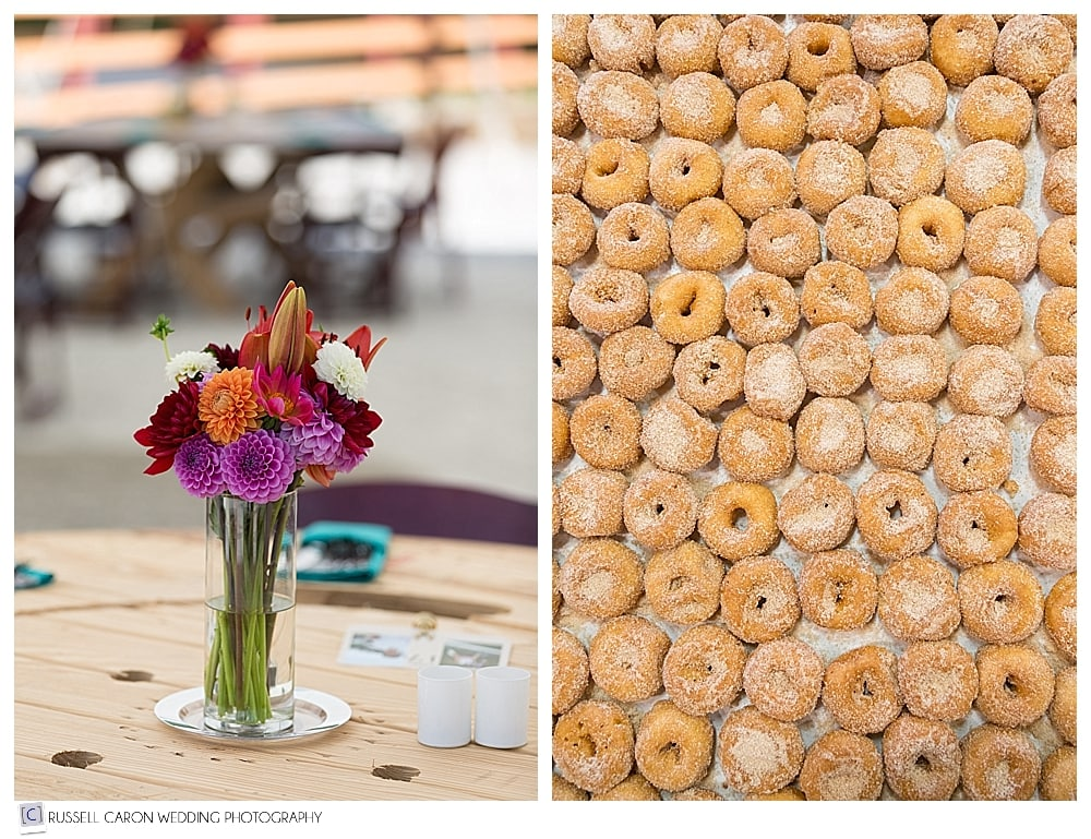 Cider donuts and flowers at Parlee Farms wedding reception