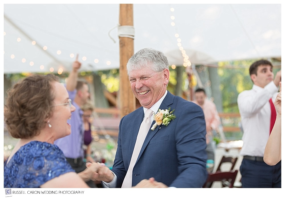 parents of the bride dancing during Parlee Farms wedding reception