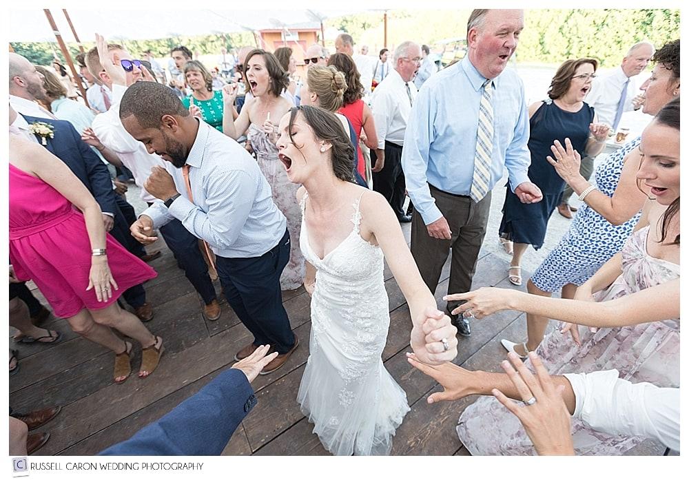 dancing fun during Parlee Farms wedding reception