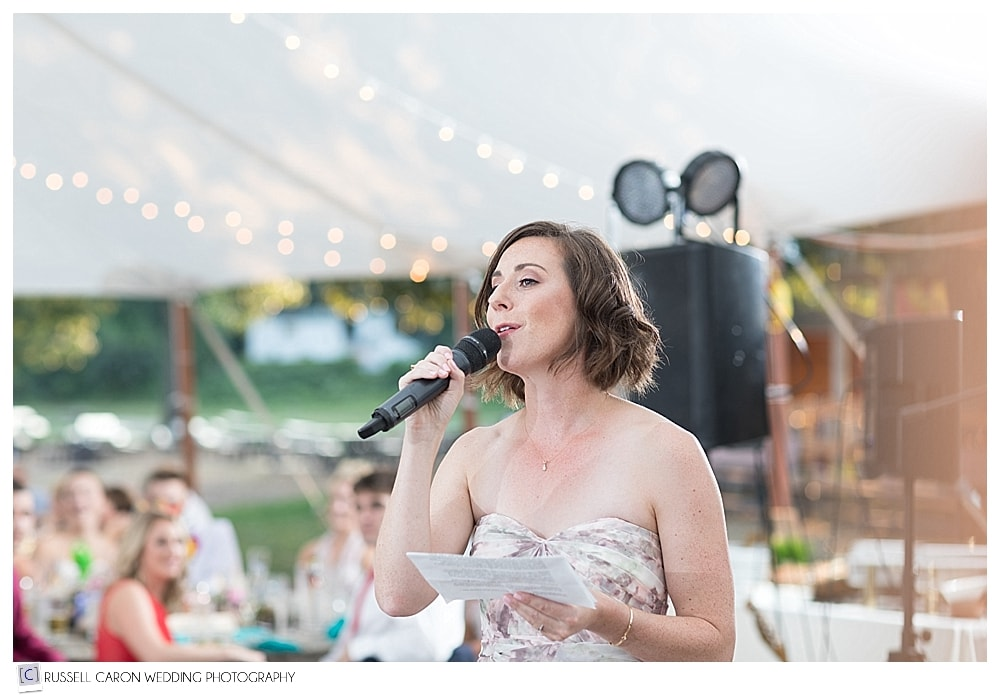 bridesmaid giving wedding toast