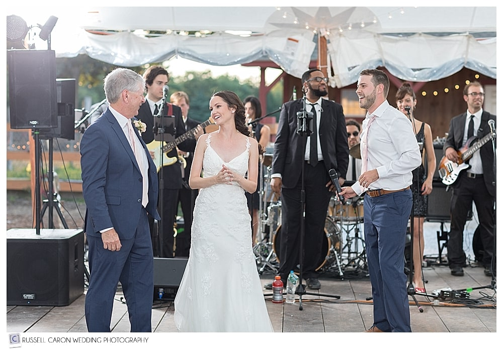 bride and groom give speech at Parlee Farms wedding reception