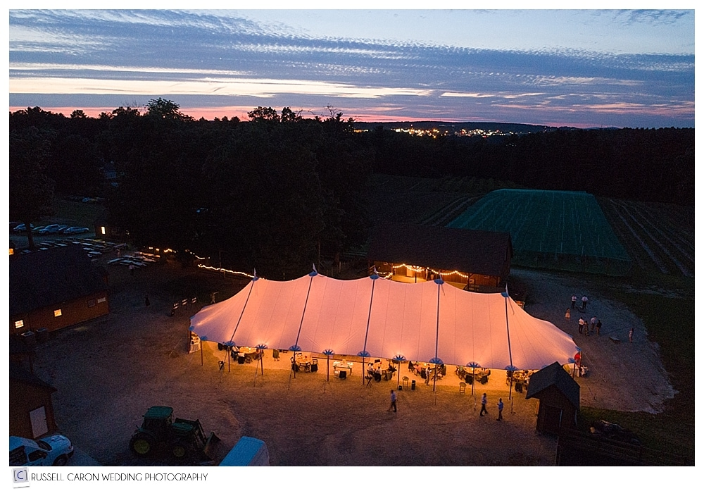 Parlee Farms wedding reception aerial view during sunset