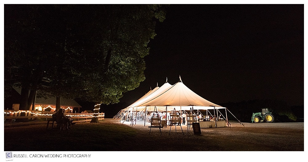 wedding reception at Parlee Farms under the tent after dark