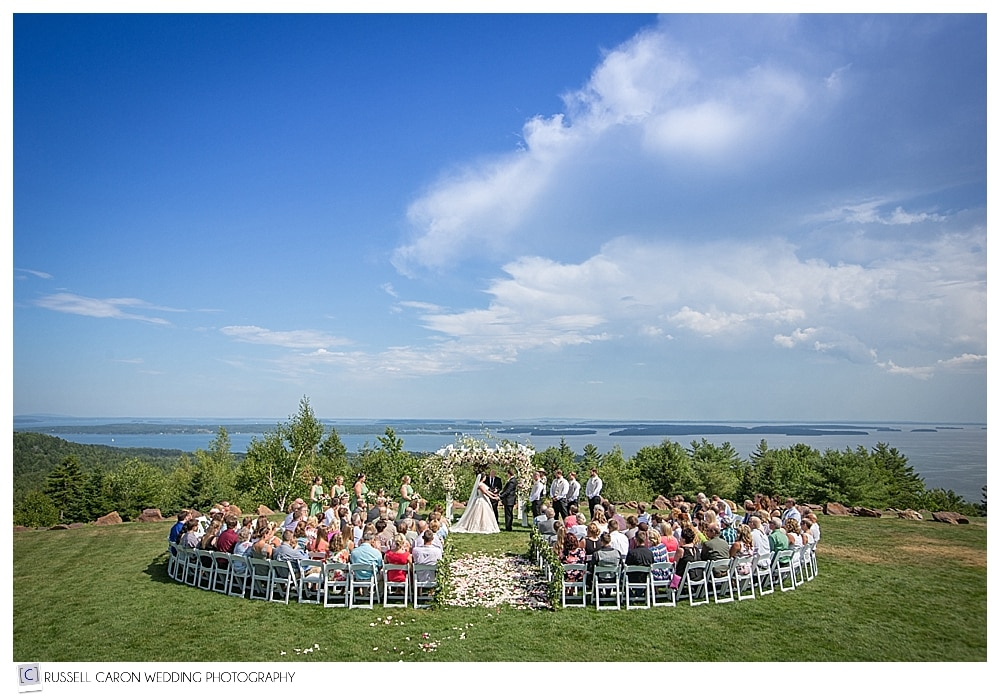 Point lookout Maine wedding ceremony on the lawn