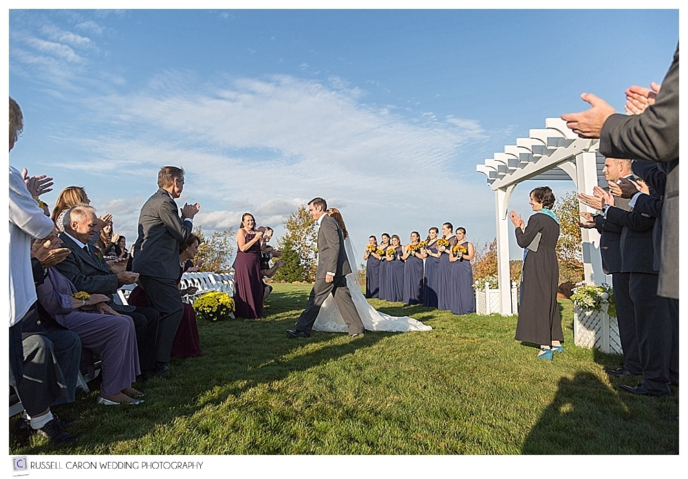bride and groom during recessional at Point Lookout Resort weddings