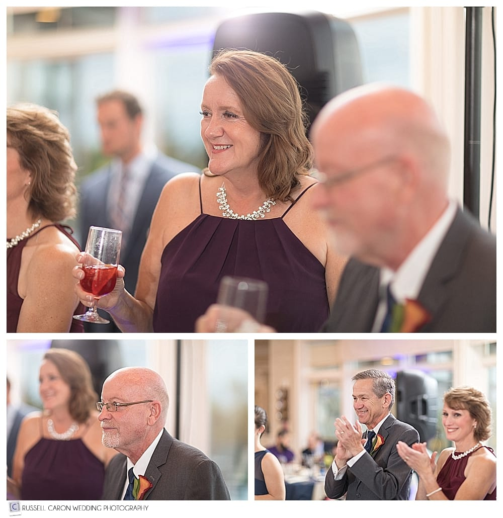 parents of the bride and groom watch the couple's first dance