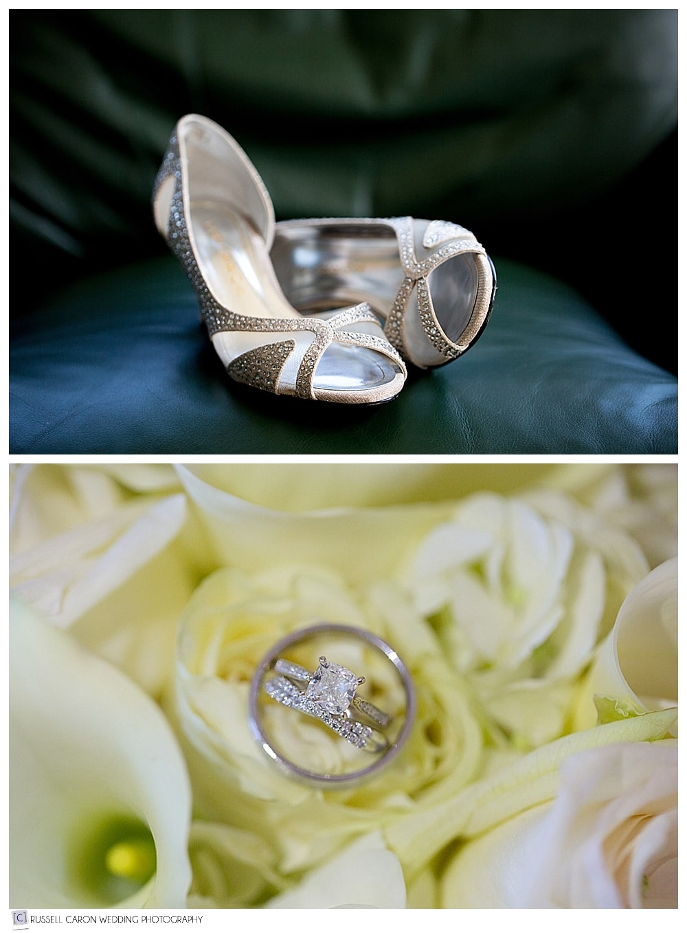 wedding day details, bridal shoes and wedding rings