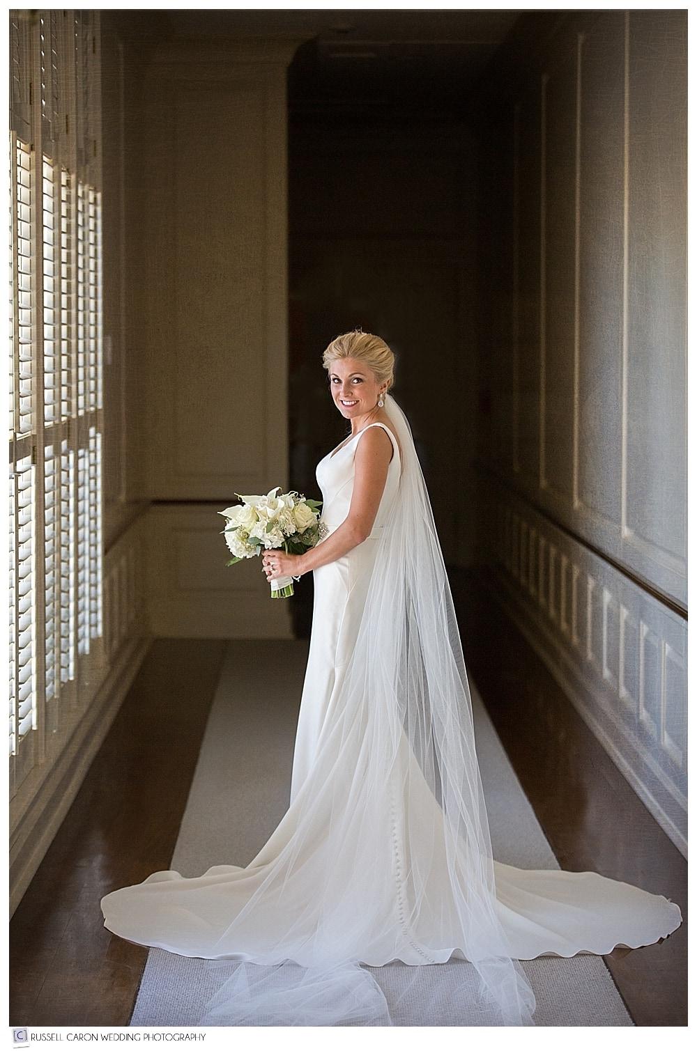bridal portrait of bride wearing Essense of Australia at Point Lookout wedding