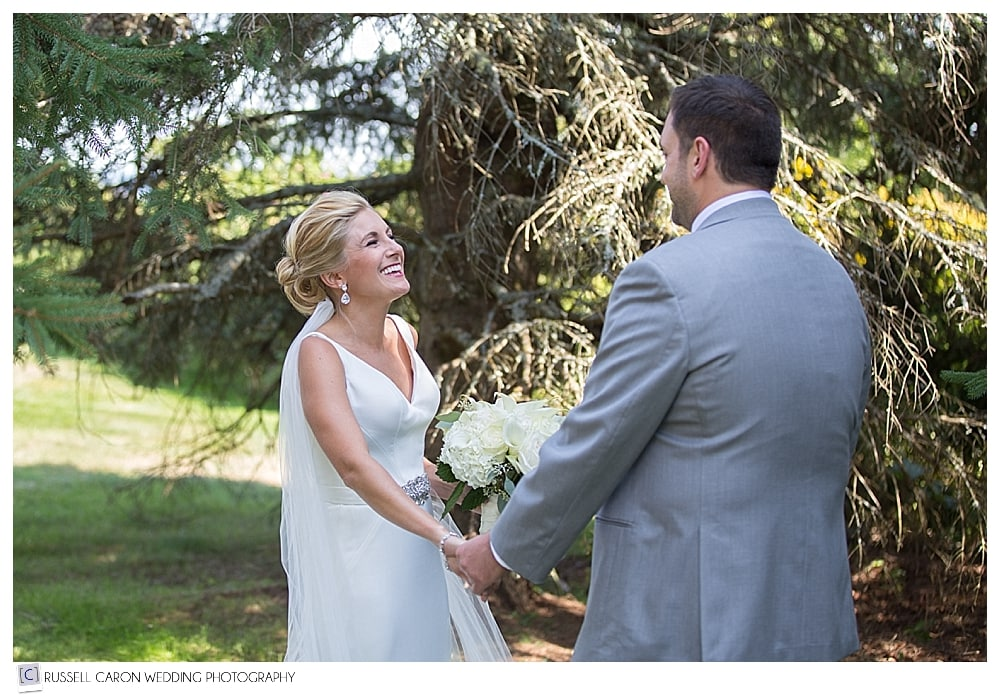 first look photos at Point Lookout wedding