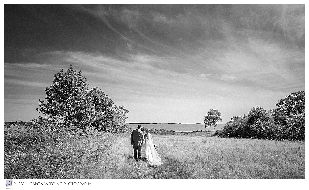 black and white photo of bride and groom walking hand in hand in field