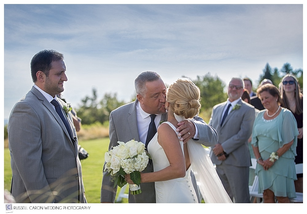 bride kissing father as he gives her away