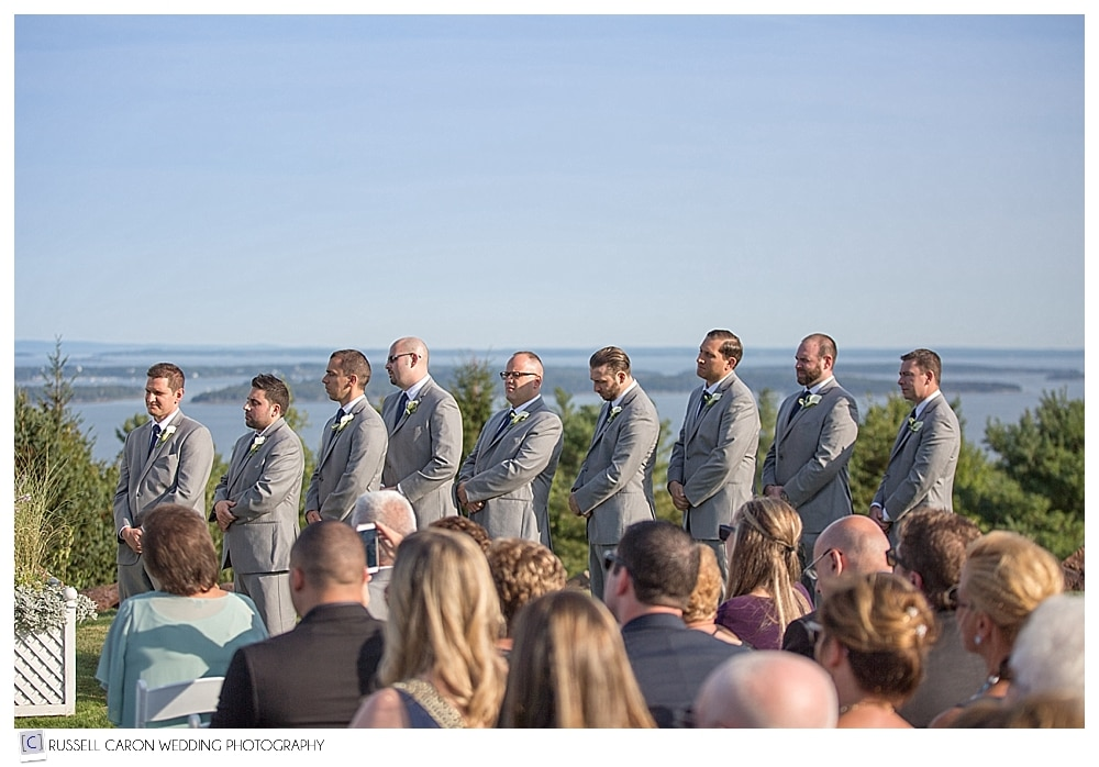 groomsmen during wedding ceremony at point lookout wedding