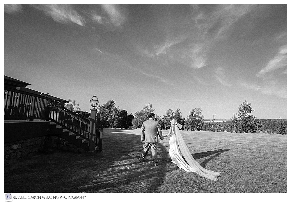 bride and groom after recessional at point lookout wedding