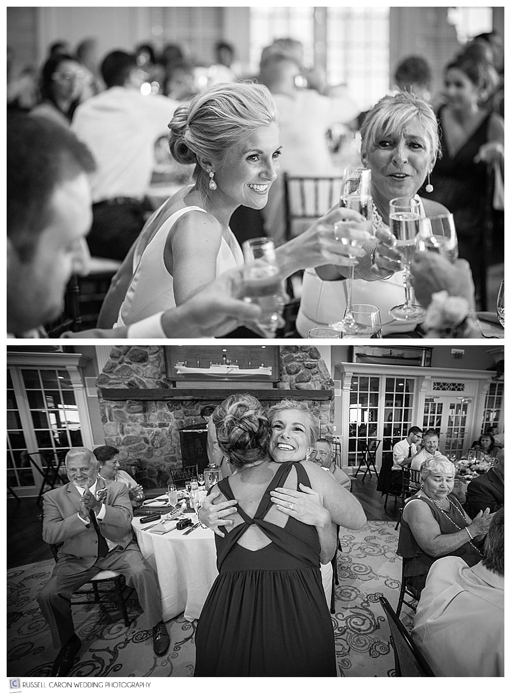 bride toasting and hugging matron of honor