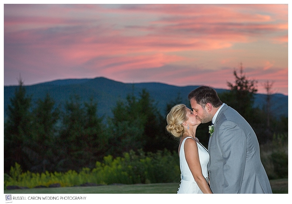 bride and groom during sunset at point lookout wedding