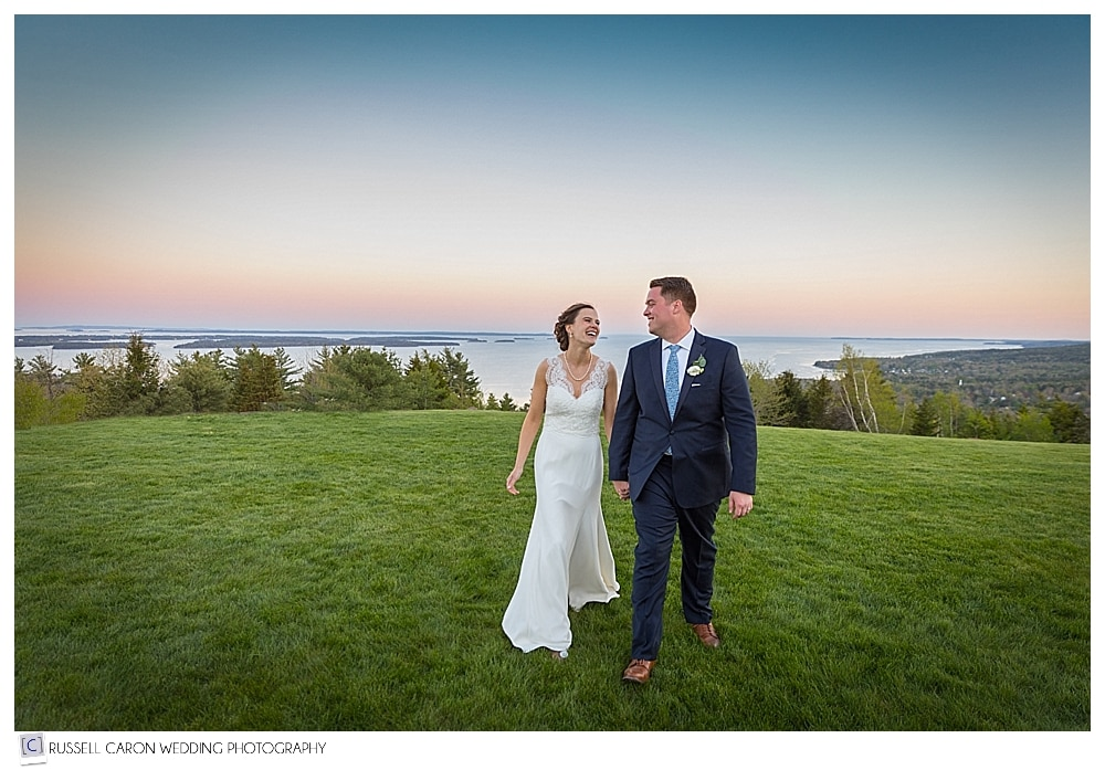 Bride and groom during sunset at Point Lookout Summit wedding reception