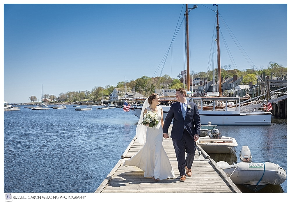 bride and groom at Camden Harbor Maine