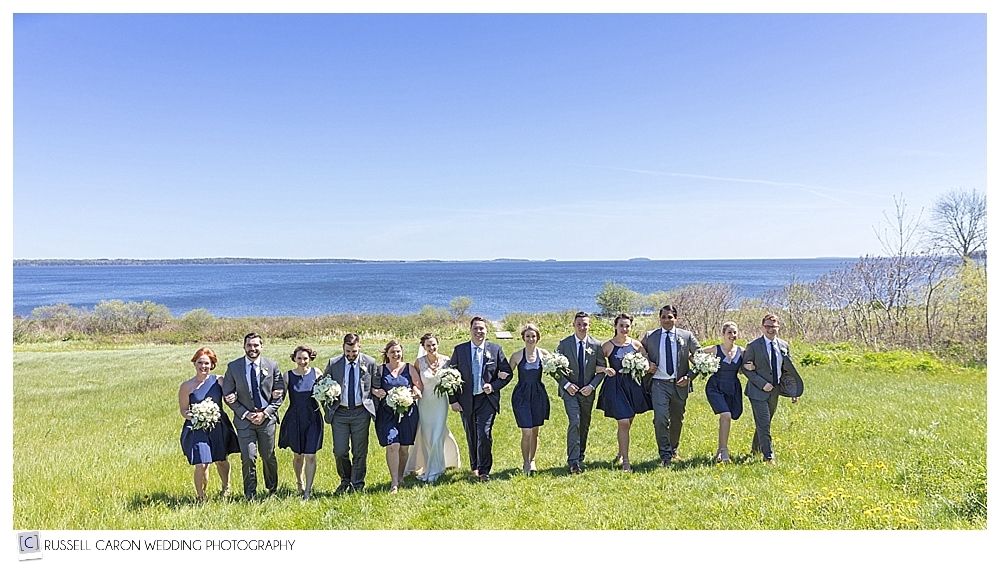 bridal party photo during Northport Maine wedding