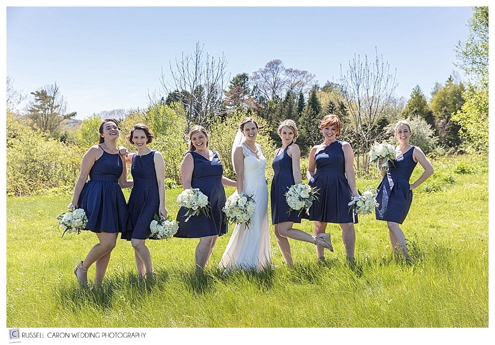 bride and bridesmaids during Maine wedding