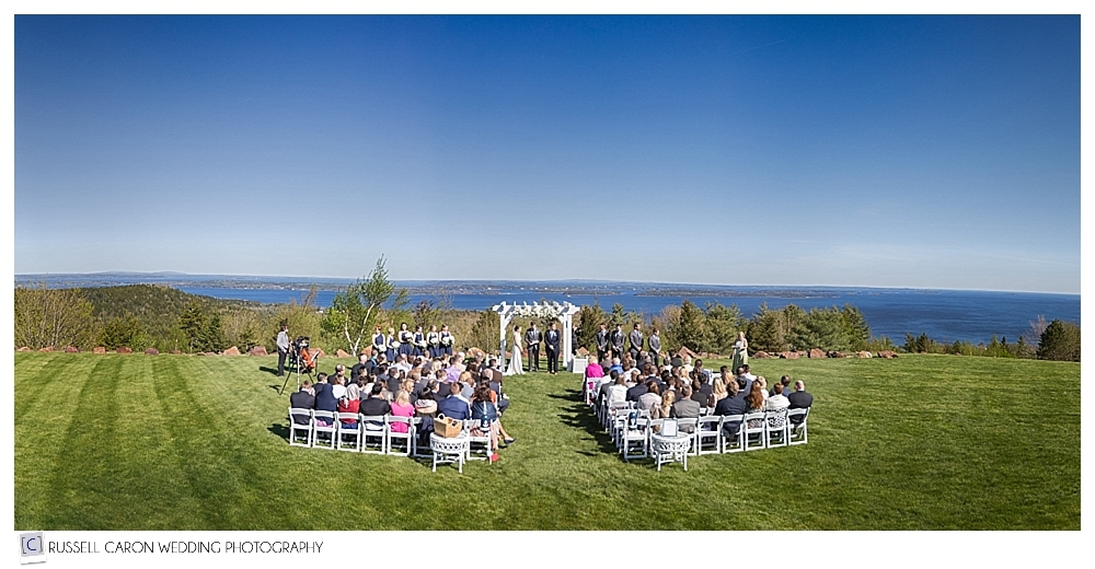 Point Lookout summit outdoor wedding ceremony Northport Maine wedding