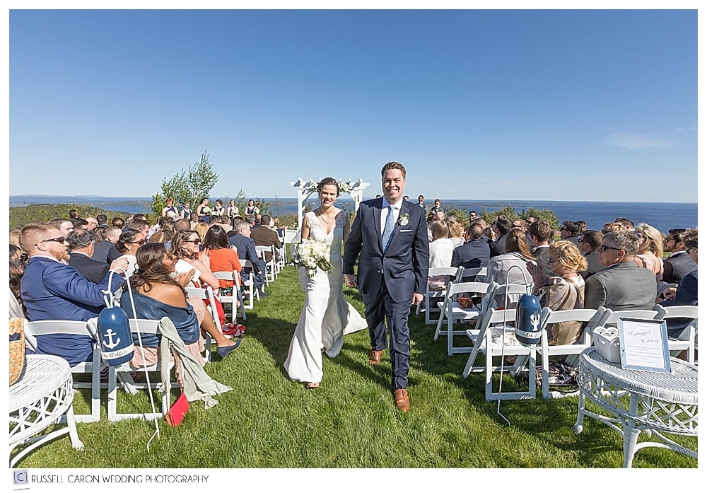 bride and groom during recessional at Northport Maine wedding Point Lookout