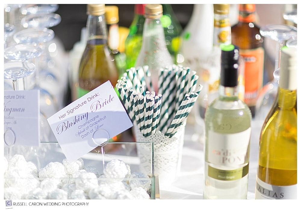 wedding reception details at the bar