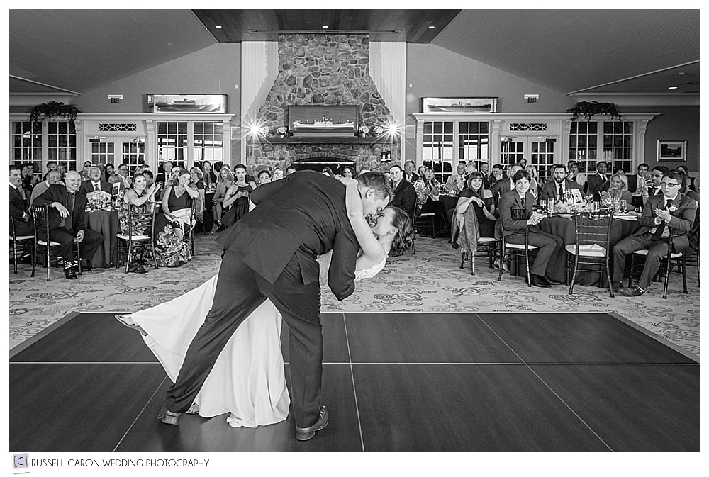 bride and groom during first dance at the summit at Point Lookout Maine