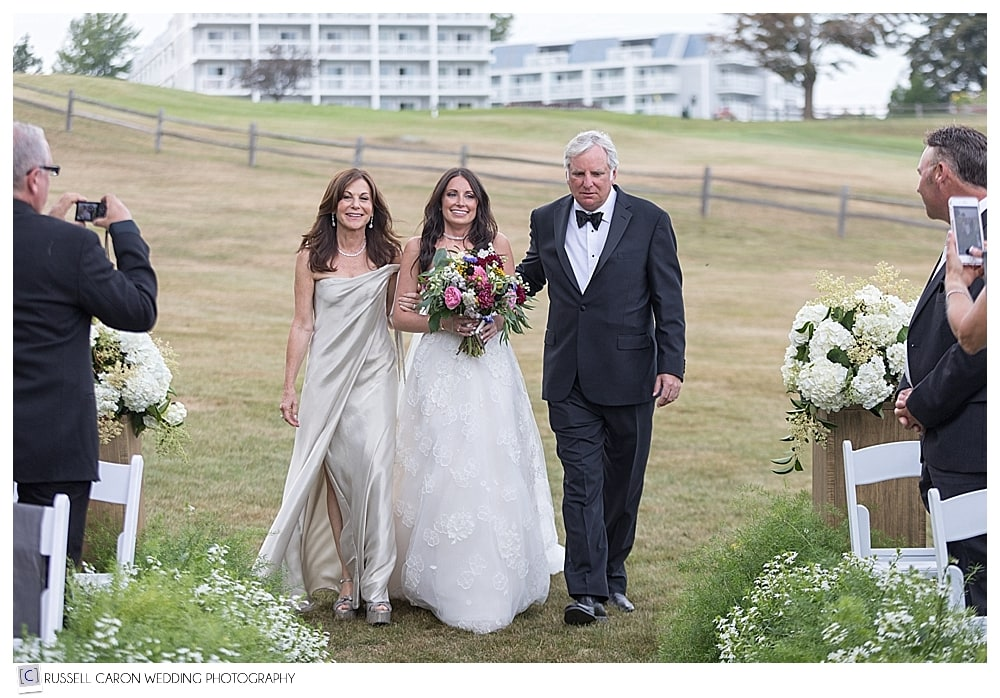 bride and parents during the processional at Samoset Resort wedding