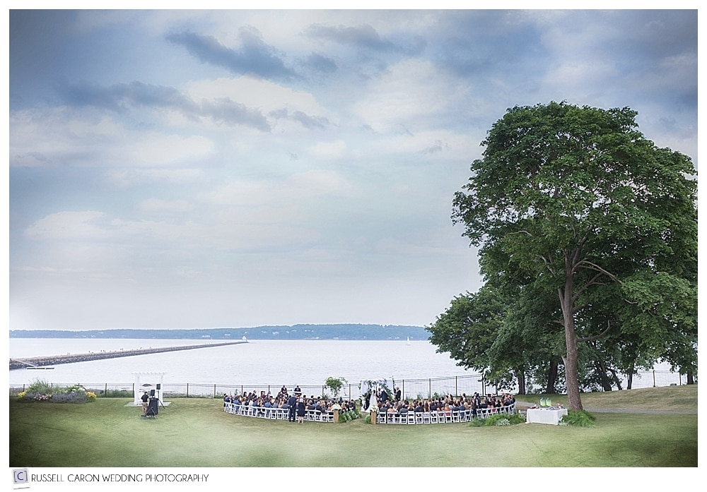 View of an outdoor Samoset Resort wedding, Rockport, Maine