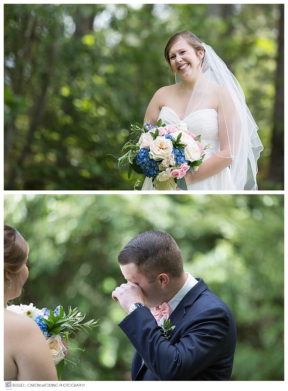 bride and groom during wedding day first look