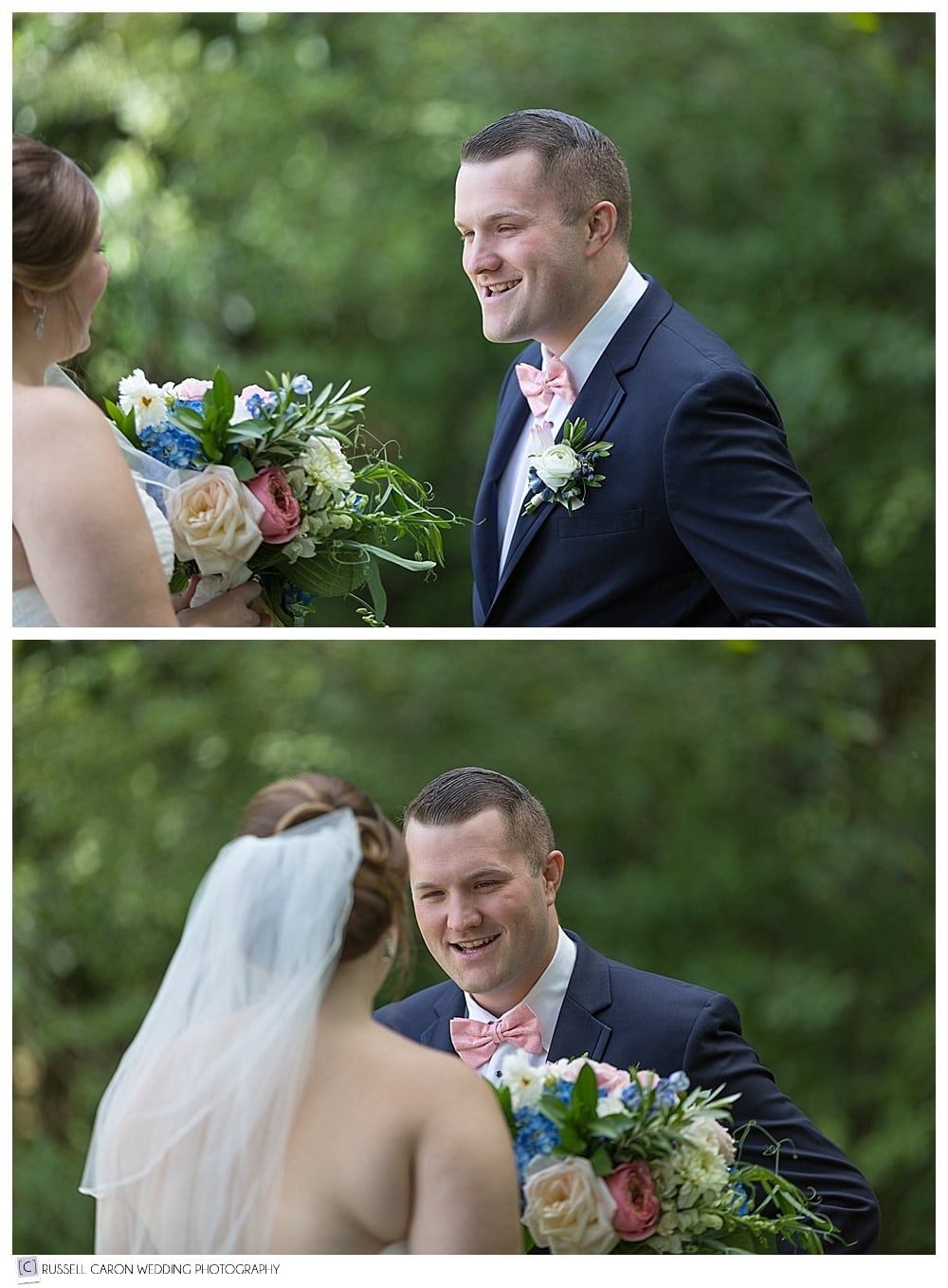 bride and groom after wedding day first look