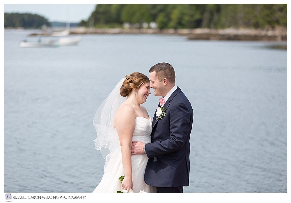 bride and groom at Sebasco Harbor, Maine