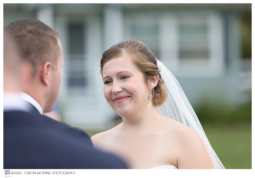 bride during outdoor Sebasco Harbor wedding ceremony