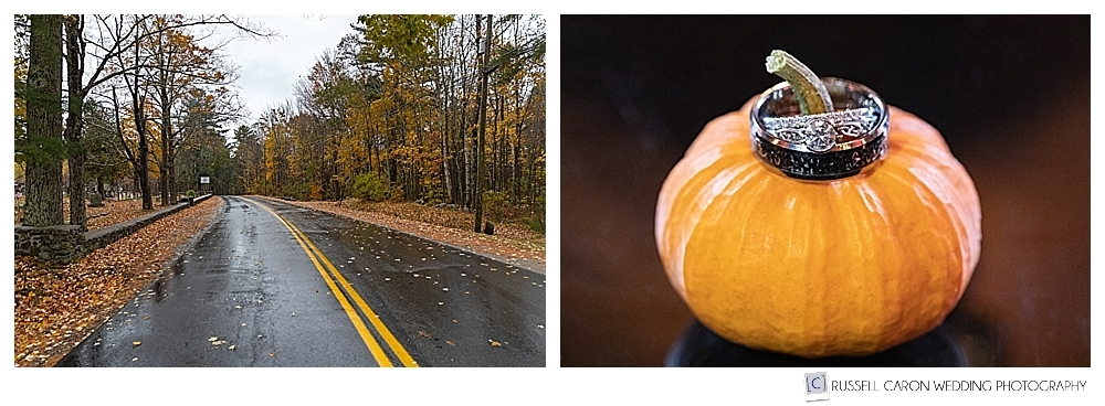photo of wedding ring details and rainy road