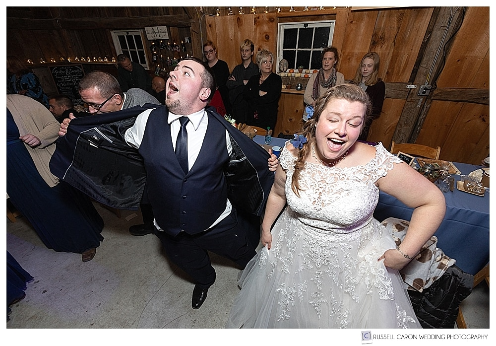 bride and groom dancing during their southern Maine wedding reception