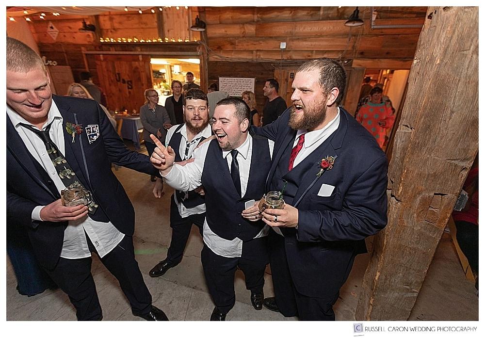 groom and groomsmen having fun during southern Maine wedding reception