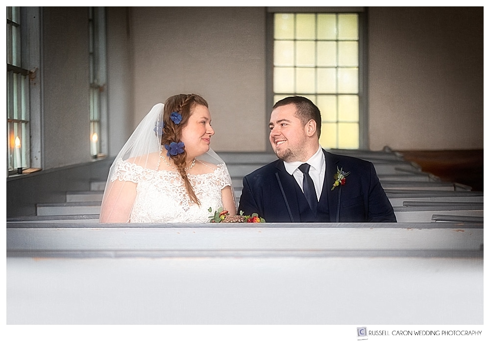bride and groom sitting together at the Elder Grey Meeting House