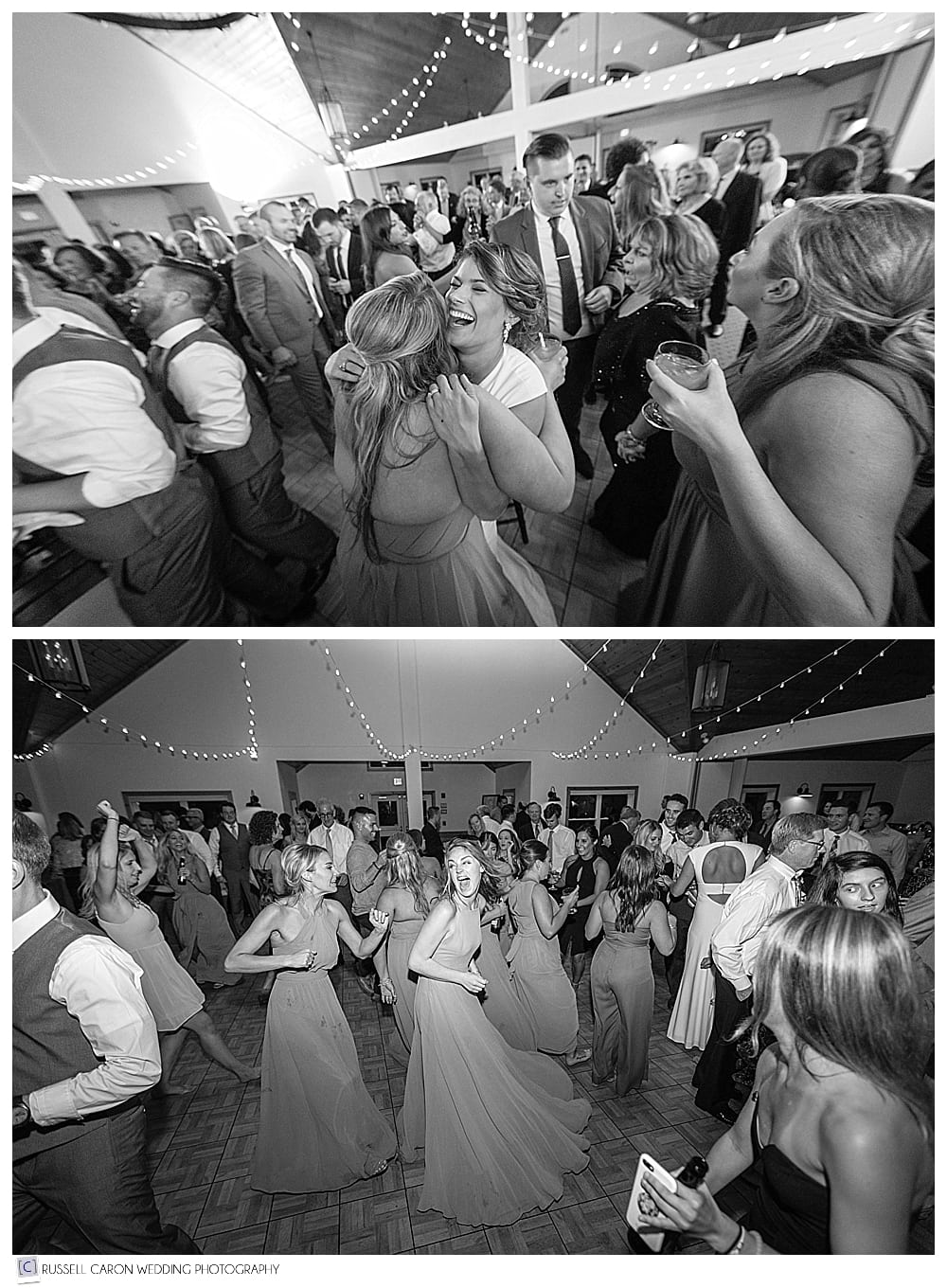 dancing fun at a Spruce Point Inn Resort wedding, Boothbay Harbor, Maine
