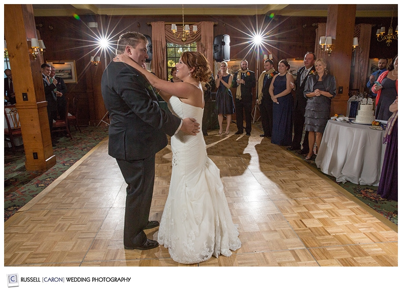 bride and groom during first dance, colony hotel kennebunkport wedding