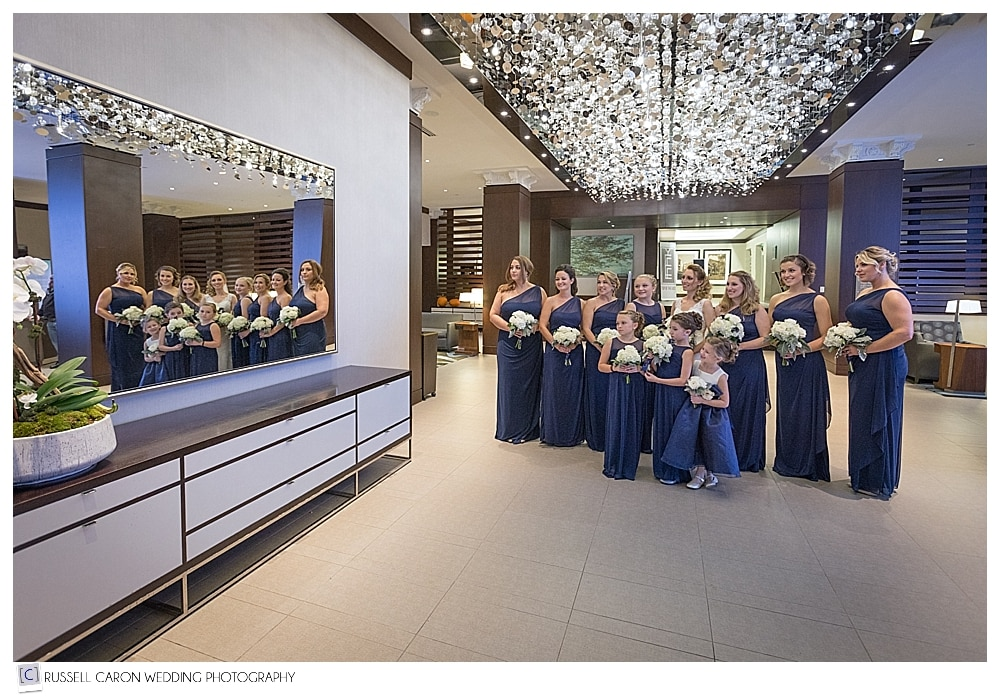 bride and bridesmaids in lobby of the Westin Portland Harborview
