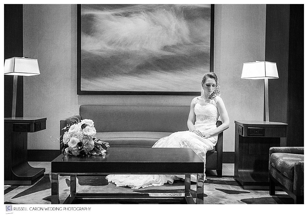 bride sitting in the lobby during Westin Portland Harborview wedding