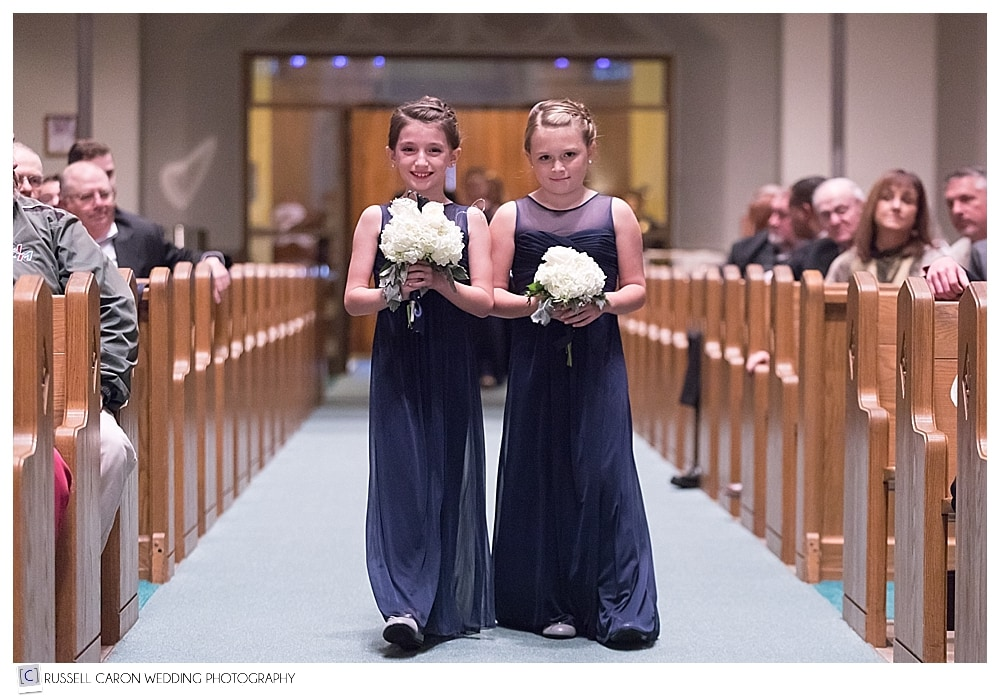 flower girls during processional at st. joseph church