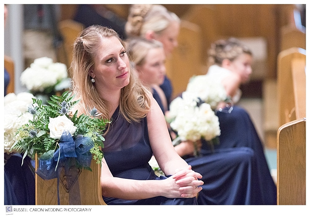 maid of honor during wedding ceremony