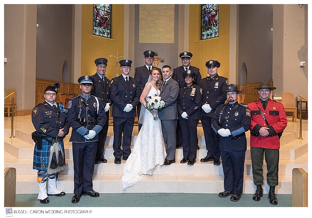bride and groom with honor guard