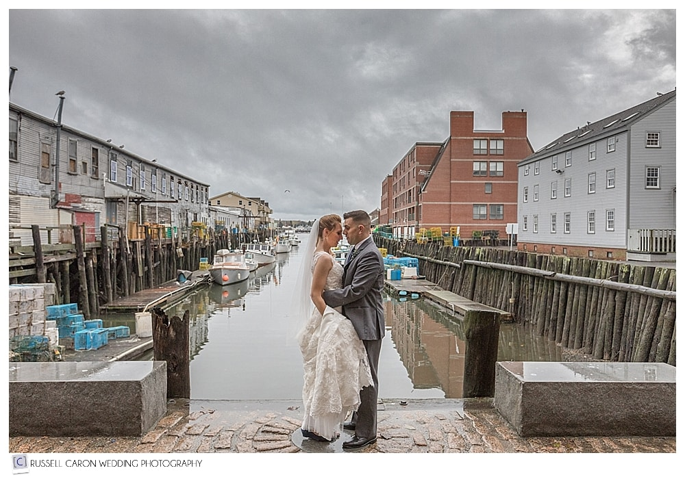 bride and groom at Portland Maine harbor